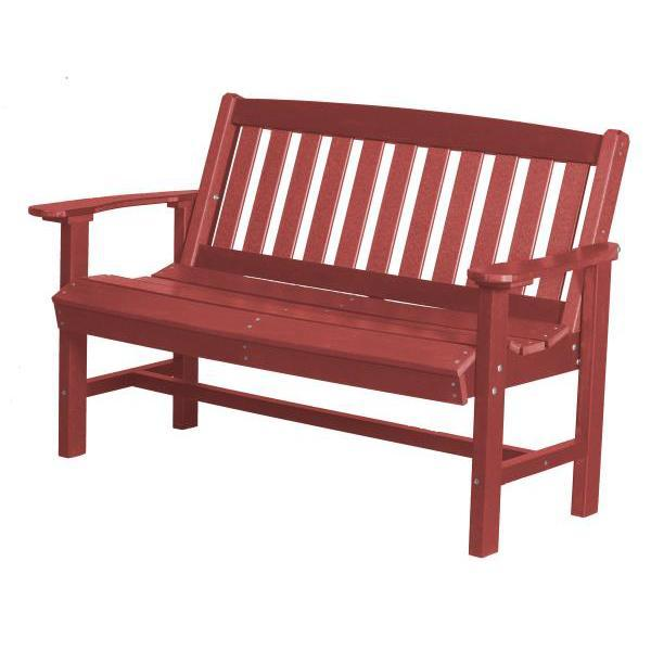 Little Cottage Co. Classic Mission 4ft Recycled Plastic Bench Garden Benches Cardinal Red