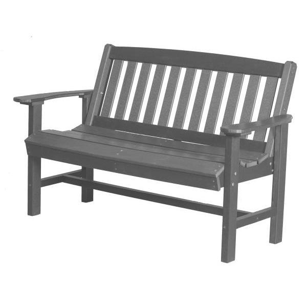 Little Cottage Co. Classic Mission 4ft Recycled Plastic Bench Garden Benches Dark Gray