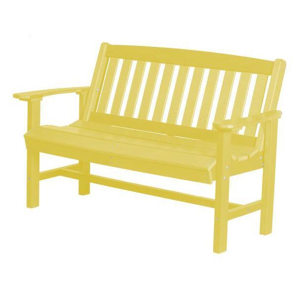 Little Cottage Co. Classic Mission 4ft Recycled Plastic Bench Garden Benches Lemon Yellow