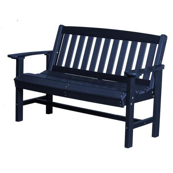 Little Cottage Co. Classic Mission 4ft Recycled Plastic Bench Garden Benches Patriot Blue