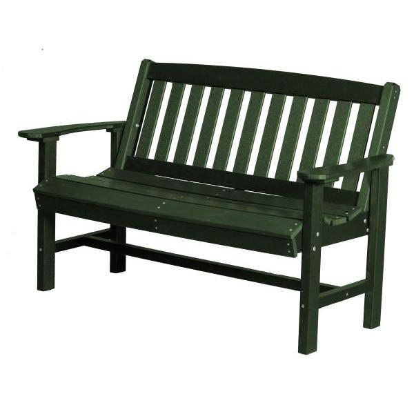 Little Cottage Co. Classic Mission 4ft Recycled Plastic Bench Garden Benches Turf Green