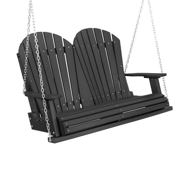 Little Cottage Co. Heritage Adirondack 4ft. Plastic Garden Swing Porch Swings Black / No