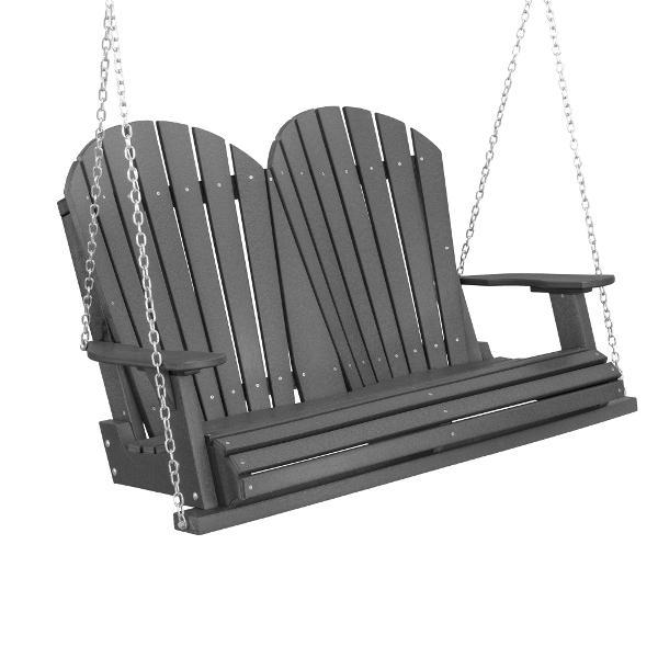 Little Cottage Co. Heritage Adirondack 4ft. Plastic Garden Swing Porch Swings Dark Gray / Yes