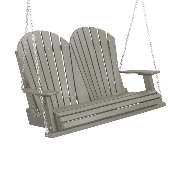 Little Cottage Co. Heritage Adirondack 4ft. Plastic Garden Swing Porch Swings Light Gray / Yes