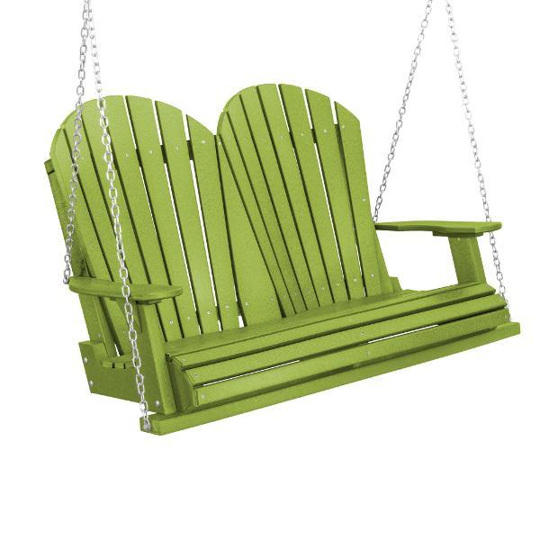 Little Cottage Co. Heritage Adirondack 4ft. Plastic Garden Swing Porch Swings Lime Green / No