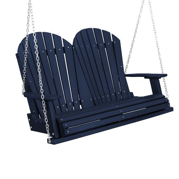 Little Cottage Co. Heritage Adirondack 4ft. Plastic Garden Swing Porch Swings Patriot Blue / Yes