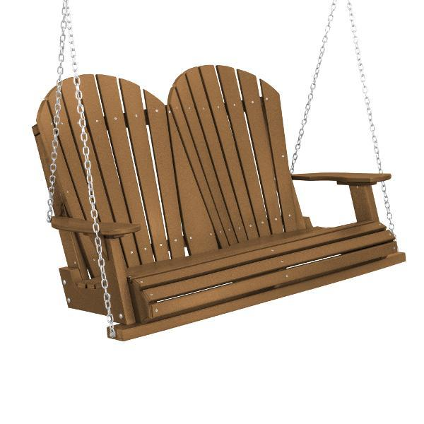 Little Cottage Co. Heritage Adirondack 4ft. Plastic Garden Swing Porch Swings Tudor Brown / No