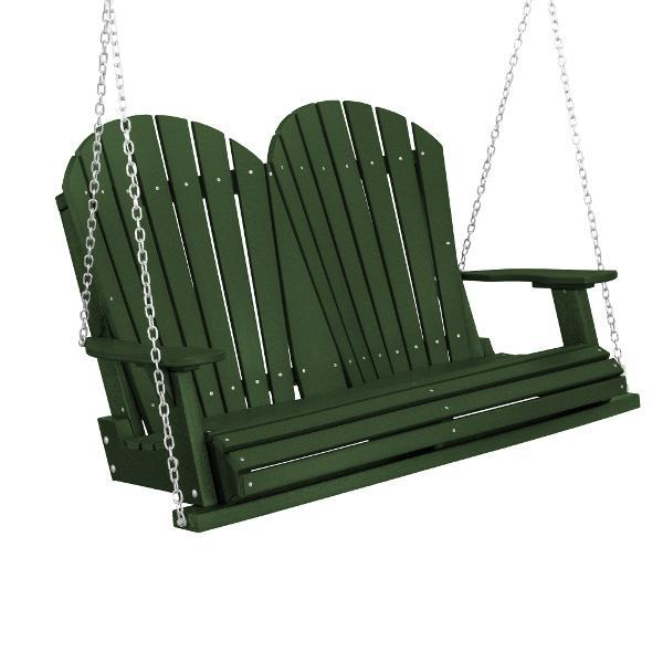 Little Cottage Co. Heritage Adirondack 4ft. Plastic Garden Swing Porch Swings Turf Green / No
