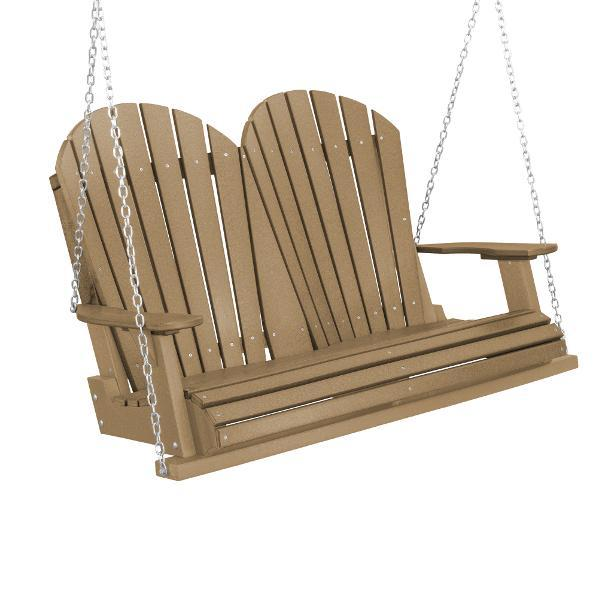 Little Cottage Co. Heritage Adirondack 4ft. Plastic Garden Swing Porch Swings Weathered Wood / No