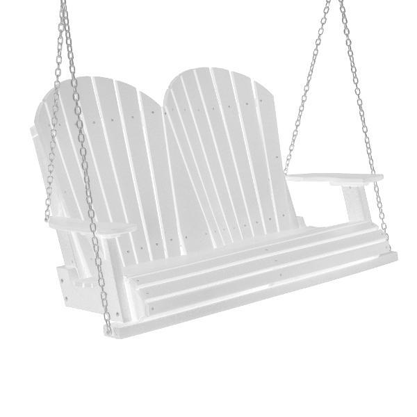 Little Cottage Co. Heritage Adirondack 4ft. Plastic Garden Swing Porch Swings White / No