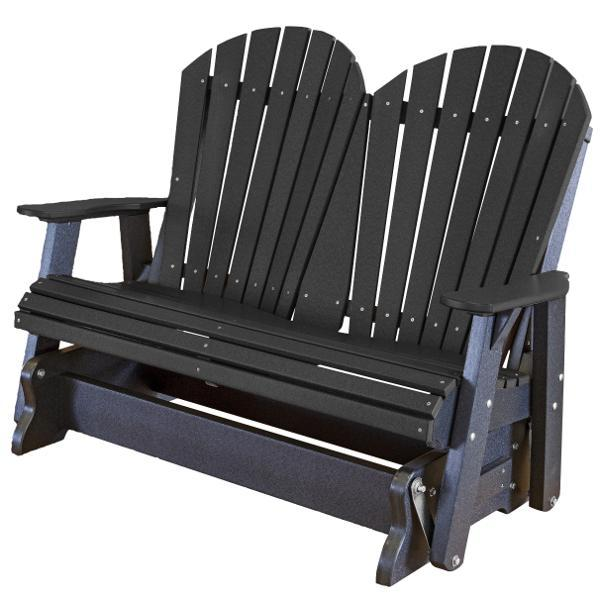Little Cottage Co. Heritage Adirondack 4ft. Recycled Plastic Glider Gliders Black