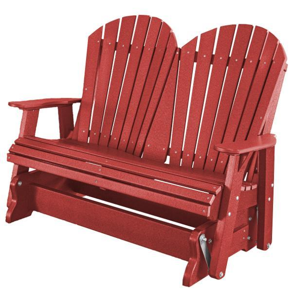 Little Cottage Co. Heritage Adirondack 4ft. Recycled Plastic Glider Gliders Cardinal Red