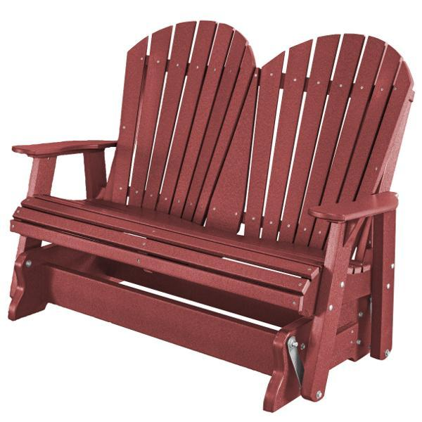 Little Cottage Co. Heritage Adirondack 4ft. Recycled Plastic Glider Gliders Cherry Wood