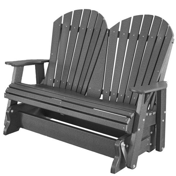 Little Cottage Co. Heritage Adirondack 4ft. Recycled Plastic Glider Gliders Dark Gray