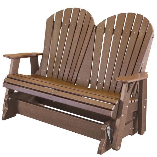 Little Cottage Co. Heritage Adirondack 4ft. Recycled Plastic Glider Gliders Tudor Brown