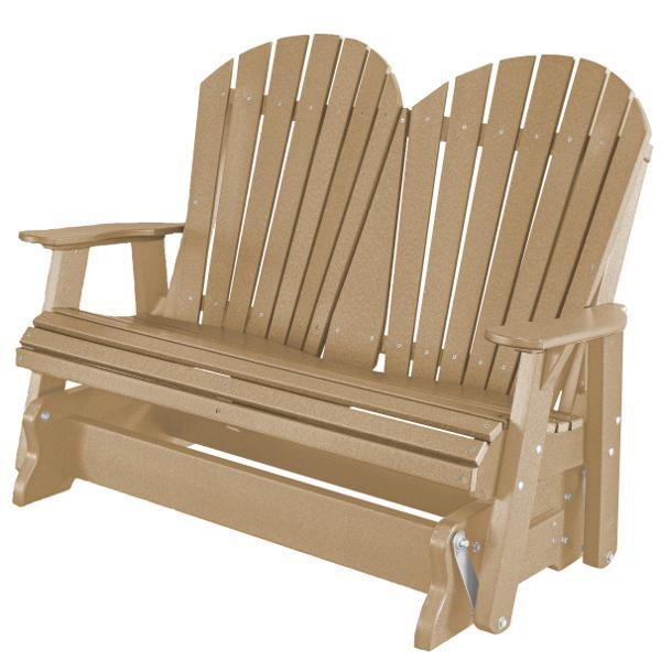 Little Cottage Co. Heritage Adirondack 4ft. Recycled Plastic Glider Gliders Weathered Wood
