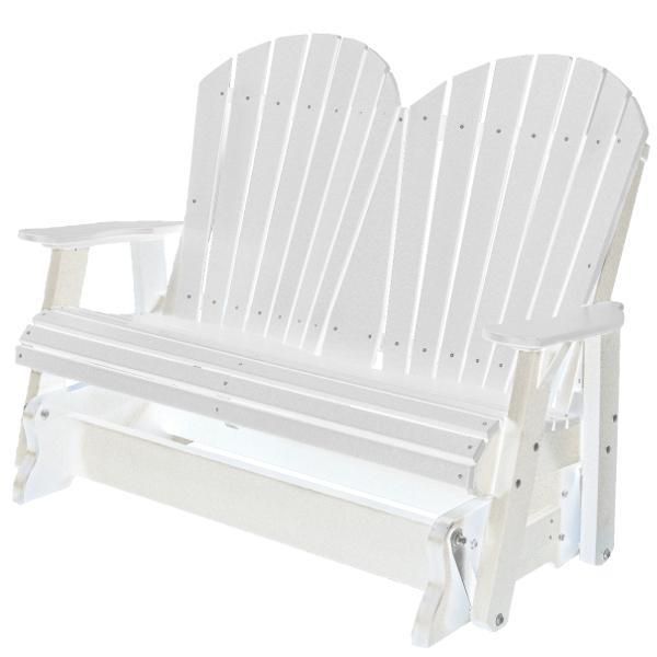 Little Cottage Co. Heritage Adirondack 4ft. Recycled Plastic Glider Gliders White