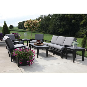 Little Cottage Co. Heritage Deep Seating Sofa Garden Benches Black with Charcoal