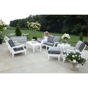 Little Cottage Co. Heritage Deep Seating Sofa Garden Benches White with Charcoal