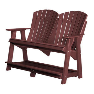 Little Cottage Co. Heritage Double High Adirondack Bench Garden Benches Cherry Wood