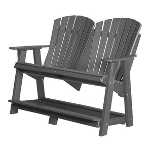 Little Cottage Co. Heritage Double High Adirondack Bench Garden Benches Dark Gray