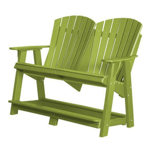 Little Cottage Co. Heritage Double High Adirondack Bench Garden Benches Lime Green