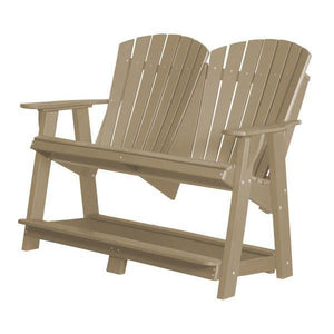 Little Cottage Co. Heritage Double High Adirondack Bench Garden Benches Weathered Wood