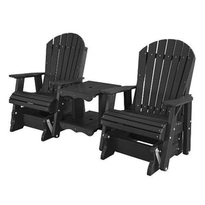 Little Cottage Co. Heritage Double Rock-a-Tee Garden Benches Black