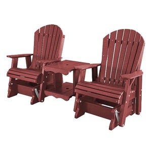 Little Cottage Co. Heritage Double Rock-a-Tee Garden Benches Cherry Wood