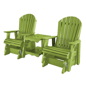 Little Cottage Co. Heritage Double Rock-a-Tee Garden Benches Lime Green