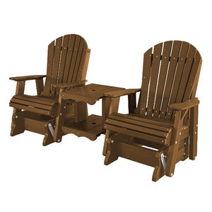 Little Cottage Co. Heritage Double Rock-a-Tee Garden Benches Tudor Brown