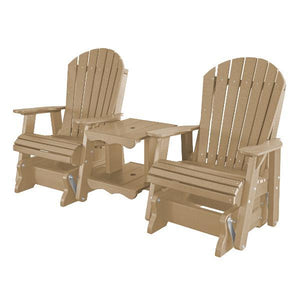 Little Cottage Co. Heritage Double Rock-a-Tee Garden Benches Weathered Wood