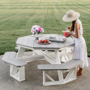 Little Cottage Co. Heritage Octagon Picnic Table Picnic Table Grey-White