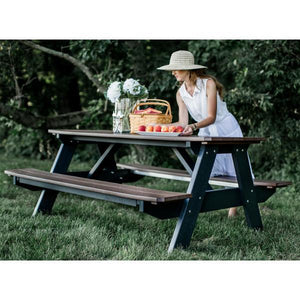 Little Cottage Co. Heritage Picnic Table With Attached Bench Picnic Table Tudor Brown-Black