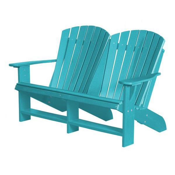 Little Cottage Co. Heritage Recycled Plastic Double Adirondack Bench Garden Benches Aruba