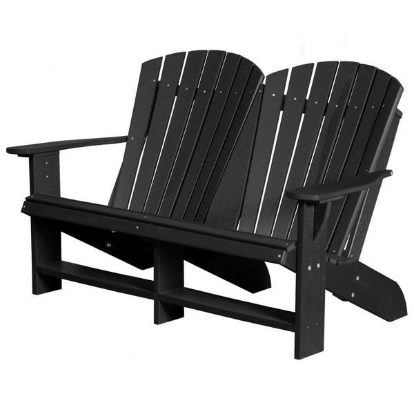 Little Cottage Co. Heritage Recycled Plastic Double Adirondack Bench Garden Benches Black
