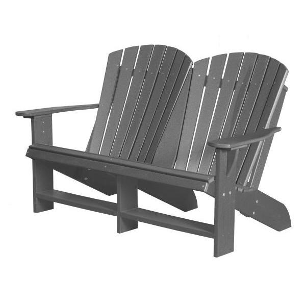 Little Cottage Co. Heritage Recycled Plastic Double Adirondack Bench Garden Benches Dark Gray