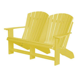 Little Cottage Co. Heritage Recycled Plastic Double Adirondack Bench Garden Benches Lemon Yellow