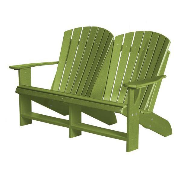 Little Cottage Co. Heritage Recycled Plastic Double Adirondack Bench Garden Benches Lime Green