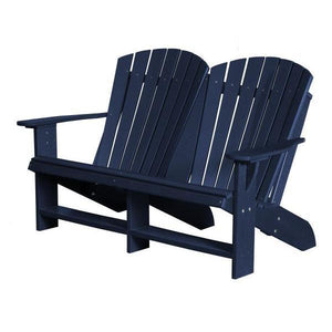 Little Cottage Co. Heritage Recycled Plastic Double Adirondack Bench Garden Benches Patriot Blue