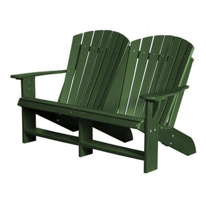 Little Cottage Co. Heritage Recycled Plastic Double Adirondack Bench Garden Benches Turf Green