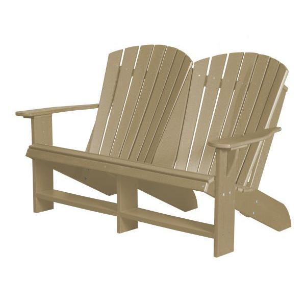 Little Cottage Co. Heritage Recycled Plastic Double Adirondack Bench Garden Benches Weathered Wood