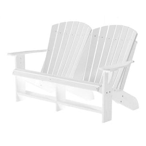 Little Cottage Co. Heritage Recycled Plastic Double Adirondack Bench Garden Benches White