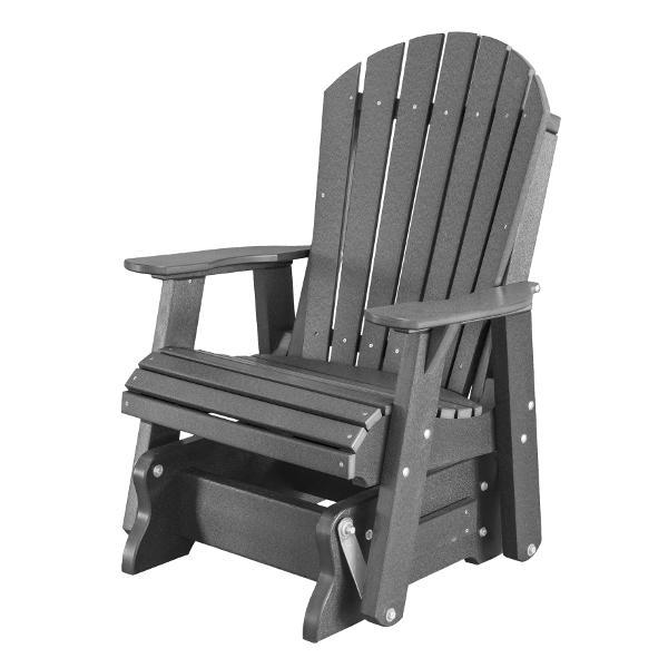 Little Cottage Co. Heritage Single Seat Rock-A-Tee Patio Glider Gliders Dark Gray