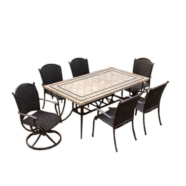 Marquesas 7Pc Dining Set Swivel Rockers