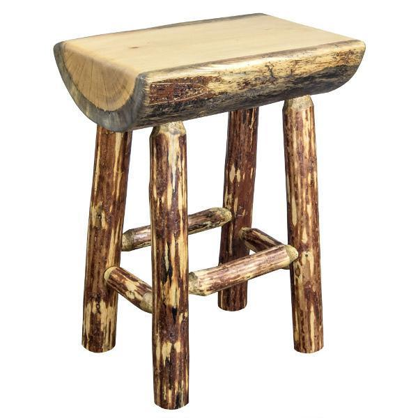 Montana Woodworks Glacier Country Counter Height Half Log Barstool with Exterior Stain Finish Barstool
