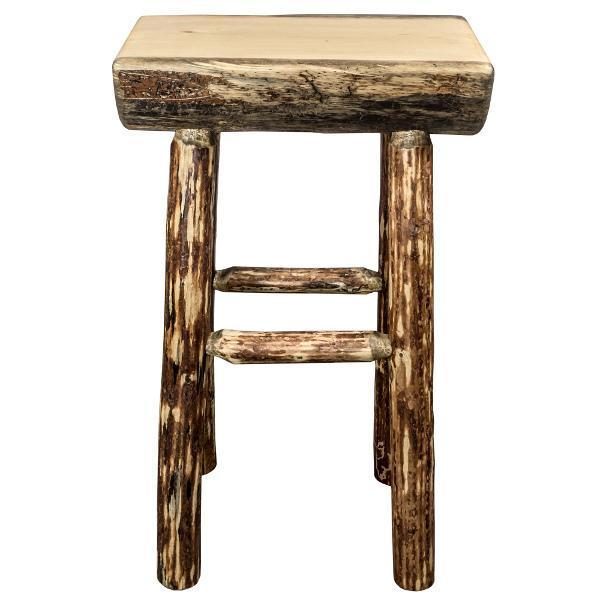 Montana Woodworks Glacier Country Half Log Barstool with Exterior Stain Finish Barstool