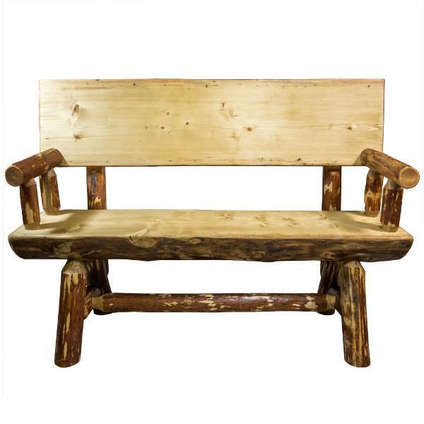 Montana Woodworks Glacier Country Half Log Bench with Back & Arms Garden Benches 4ft