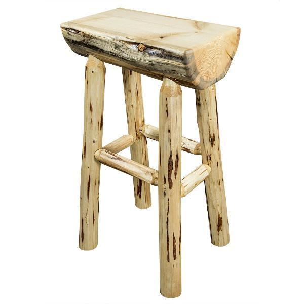 Montana Woodworks Montana Counter Height Half Log Barstool with Exterior Stain Finish Barstool