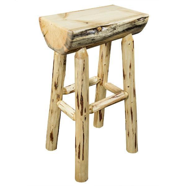 Montana Woodworks Montana Half Log Barstool with Exterior Stain Finish Barstool